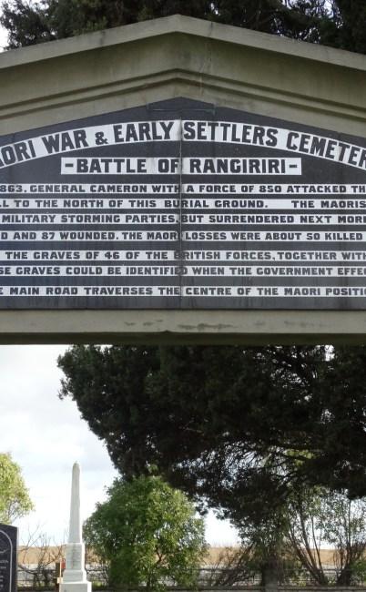 Maori War & Early Settlers Cemetery –  Rangiriri, Waikato