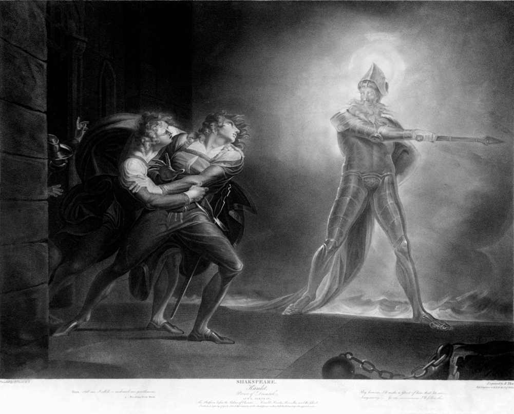 """Hamlet and his father's ghost"" by Henry Fuseli (1796 drawing)."