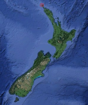 Map of New Zealand showing the location of Spirits Bay