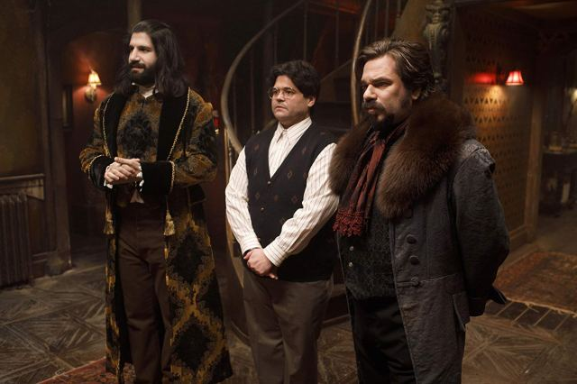 Kayvan Novak, Matt Berry, and Harvey Guillen in What We Do in the Shadows (2019)