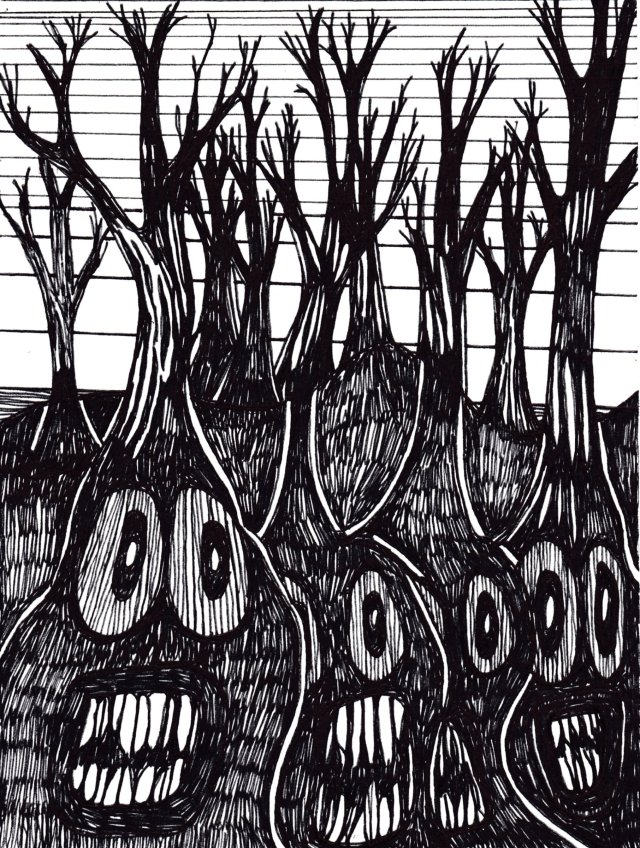 Black and white with big faces and sharp teeth below the surface and branches pushing up from those heads above the surface.