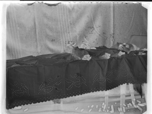 "Ghosts in Grave-clothes This post-mortem negative from Norway shows the ""punchwork"" commonly used on shrouds and grave-clothes http://digitaltmuseum.no/011015155636"
