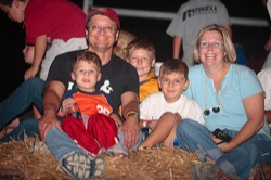 Family enjoying a hayride at the Poplar Grove Halloween