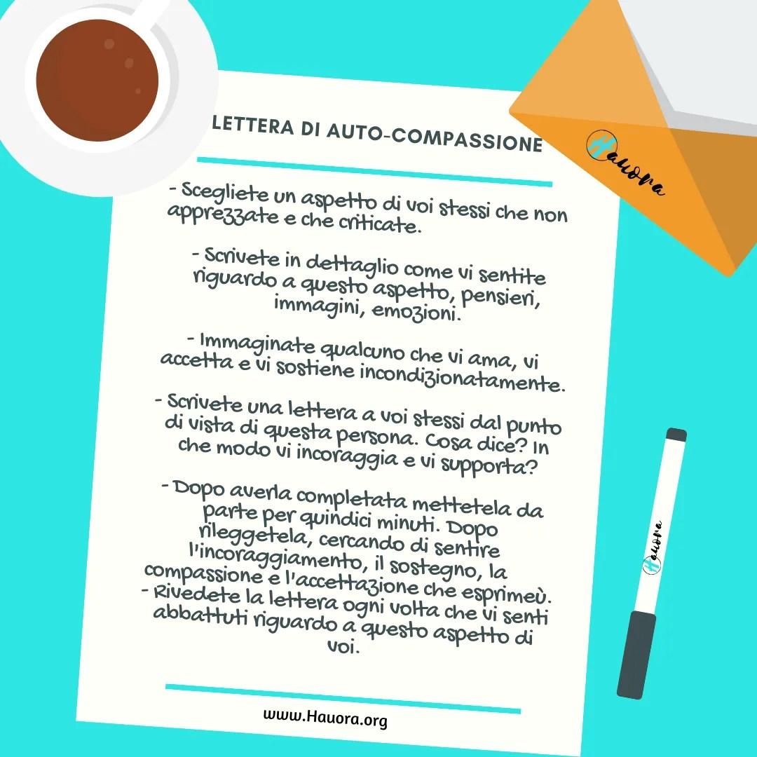 Lettera di auto-compassione e promozione del benessere