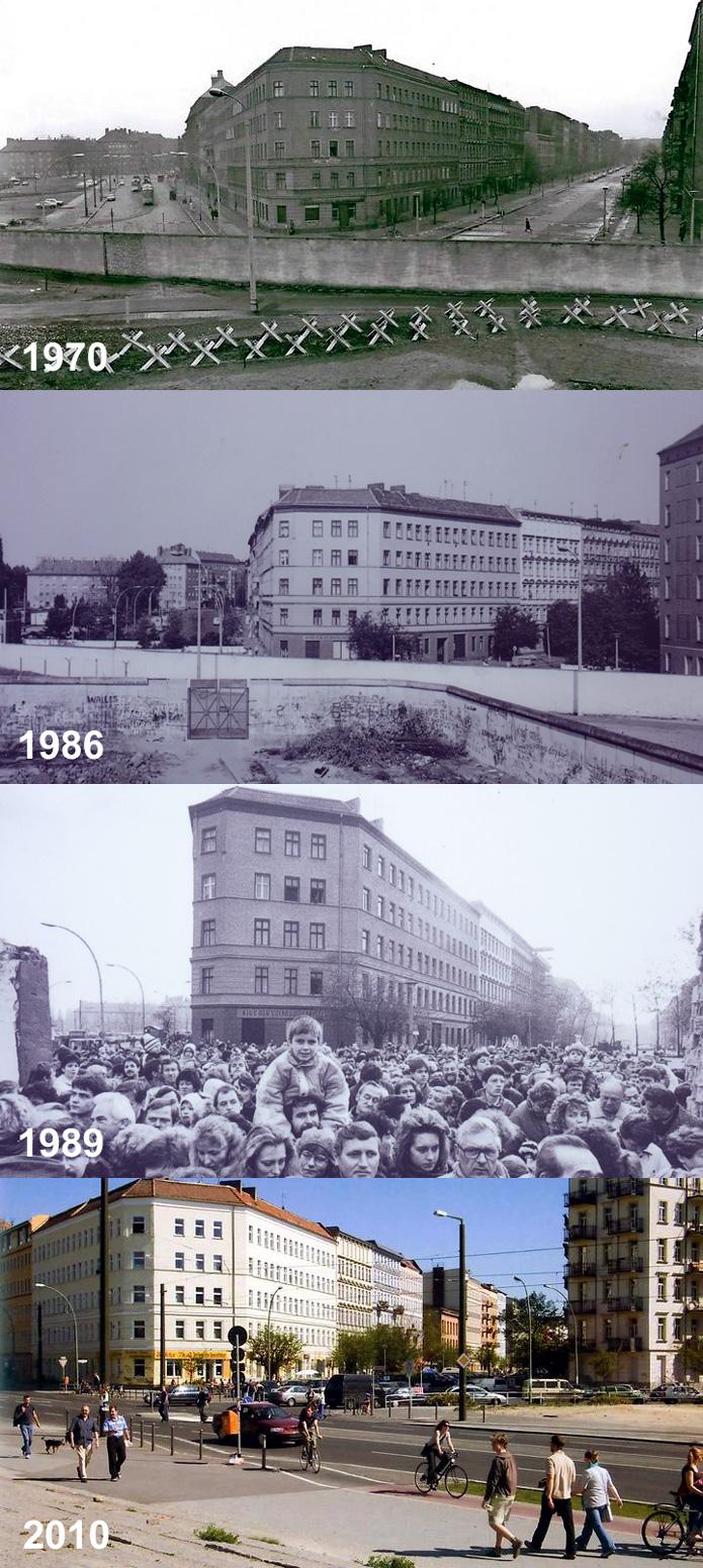 Anicht der Berliner Mauer - Bernauer Strasse Ecke Eberswalder Strasse