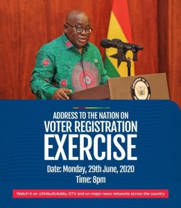 President Akufo-Addo will address the Nation 8pm new Voters' register for 2020 1