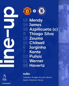 Chelsea team to take on Manchester United