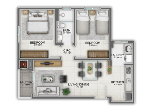 Textured 2D Floor Plan