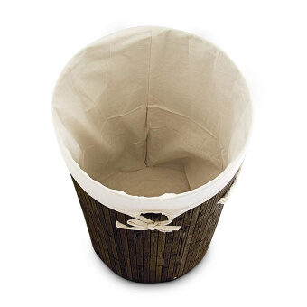 Relaxdays Wäschekorb Bambus rund