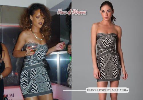 Rihanna in a geometric jacquard dress by Herve Leger
