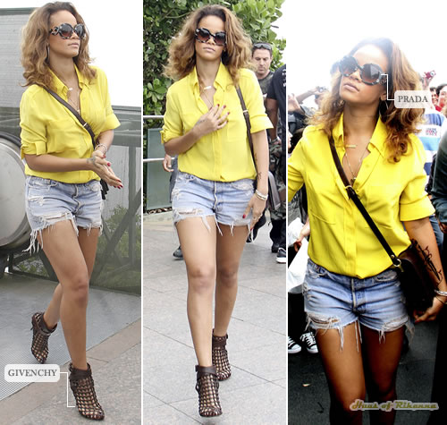 Rihanna in Givenchy Ankle Wrap Cage Boots