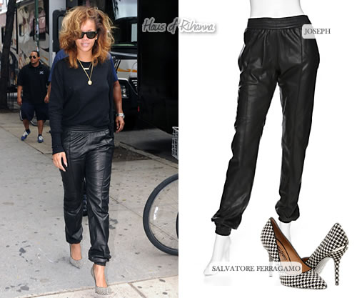 Rihanna wears Joseph jogging pants and Ferragamo houndstooth heels in New York