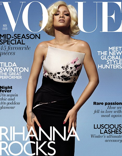 Rihanna on the cover of British Vogue in Armani Prive