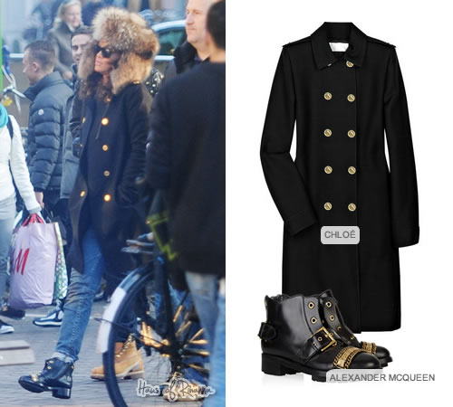 Rihanna in Alexander McQueen boots and Chloé coat