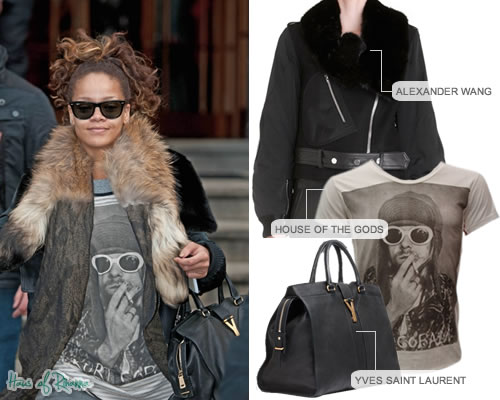 Rihanna in Alexander Wang jacket, House of the Gods Kurt Cobain t-shirt, YSL bag