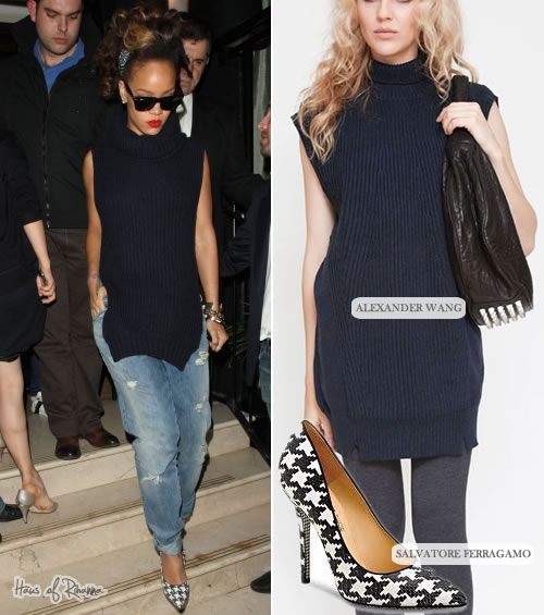 Rihanna in Alexander Wang sweater and Salvatore Ferragamo houndstooth pumps
