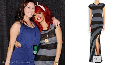 Rihanna in A.L.C Paloma slub-jersey maxi dress