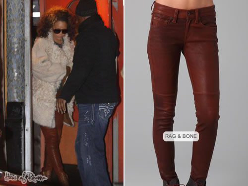 Rihanna in Rag and Bone skinny leather pants