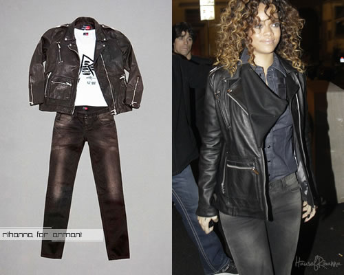 Rihanna in Rihanna for Armani jeans and jacket in Milan