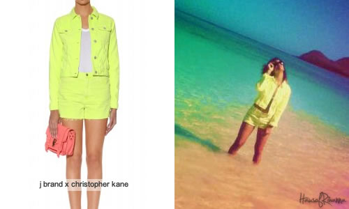 Rihanna in J Brand by Christopher Kane shorts and jacket