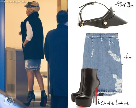 Rihanna in Fleet Ilya visor and Acne Skirt