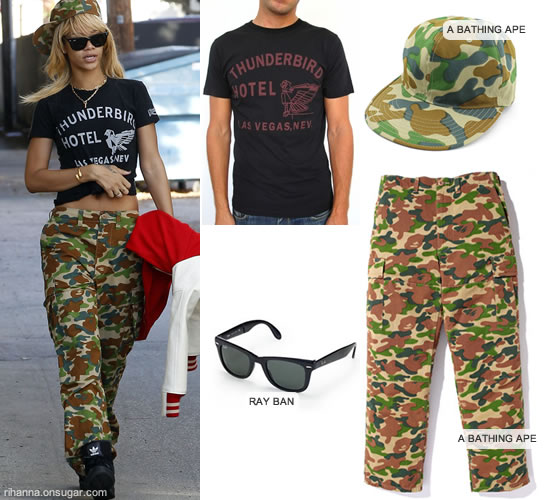 Rihanna in A Bathing Ape camouflage pants