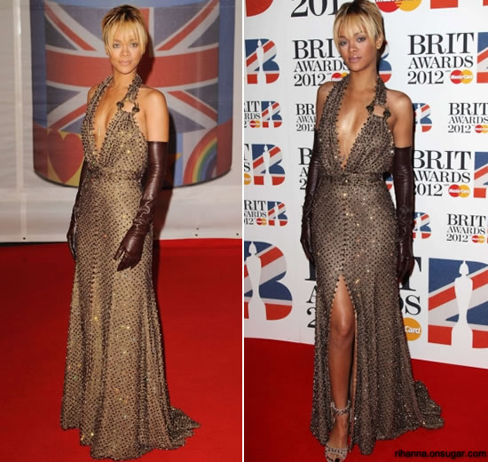 4189e16ce336 Rihanna hit the red carpet at the 2012 Brit Awards wearing head-to-toe  Givenchy Spring 2012 Couture. The collection designed by Ricardo Tisci was  definitely ...