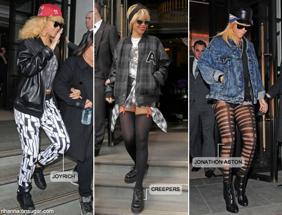 Rihanna in Joyrich pants, Creepers and Jonathan Aston tights