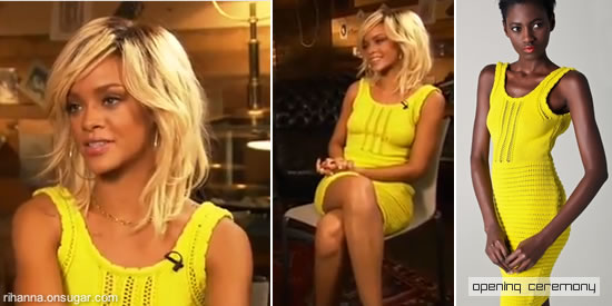 Rihanna in yellow Opening Ceremony dress on Access Hollywood