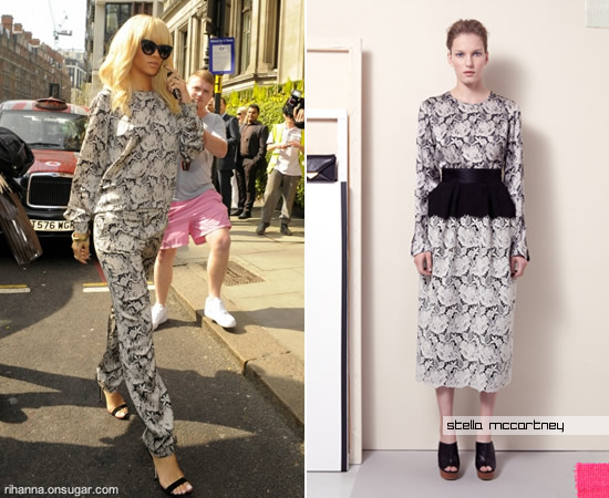 Rihanna in Stella McCartney floral lace pants and shirt