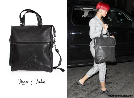 Rihanna carrying Vlieger & Vandam Guardian Angel gun embossed tote bag