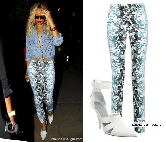 Rihanna in Alexander Wang floral jeans and white ankle strap shoes