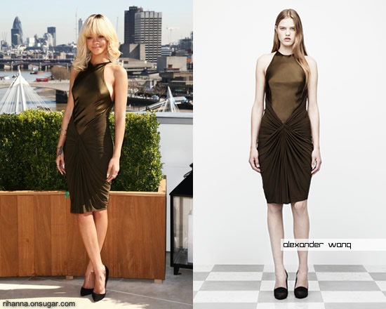 Rihanna in green Alexander Wang dress at Battleship photocall