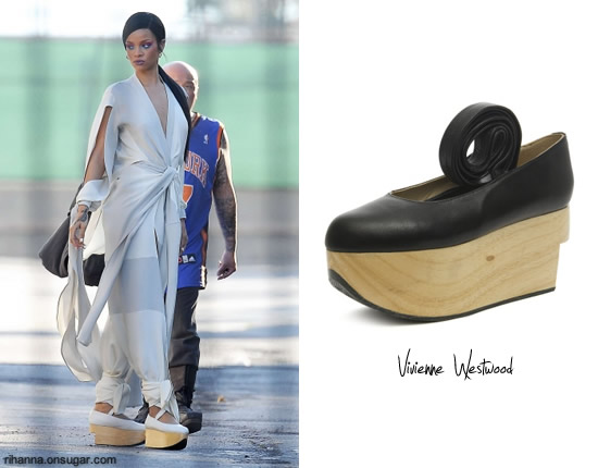 """b1b97f632535a Rihanna was seen on the set of """"Princess of China"""" wearing Vivienne  Westwood's rocking horse ballerina shoes in white. Here's a little fashion  history: the ..."""