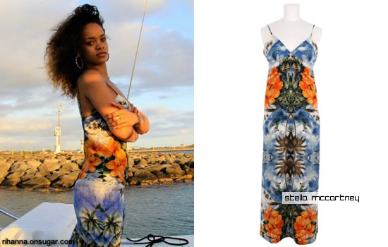 Rihanna in Stella McCartney print dress in Hawaii