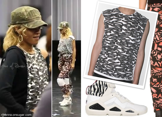 Rihanna in Prince Peter shirt, Jeremy Scott leggings and Reebok Chi-Kaze sneakers