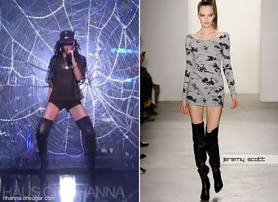 Rihanna in thigh high Jeremy Scott boots on Saturday Night Live