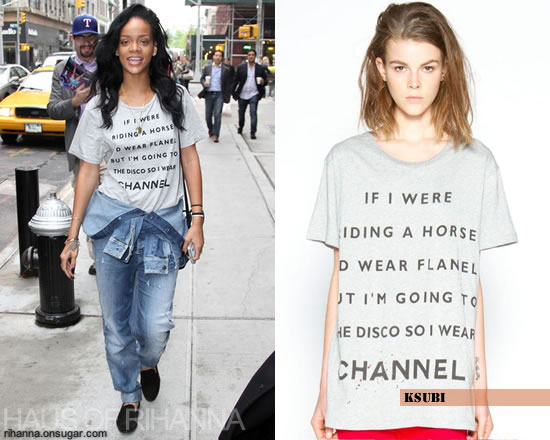 Rihanna in ksubi t-shirt and Armani jumpsuit