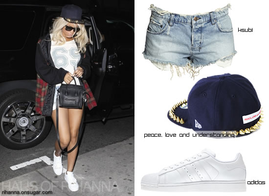 Rihanna in spiked hat from Peace, Love and Understanding
