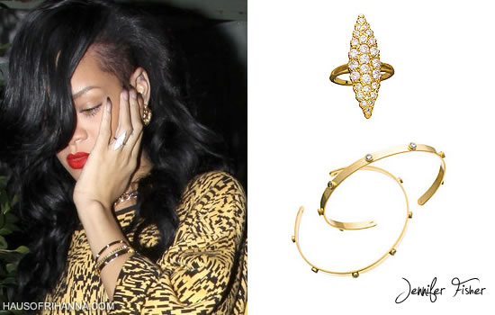Rihanna in Jennifer Fisher gold Marquis ring and Organic Stud Cuff