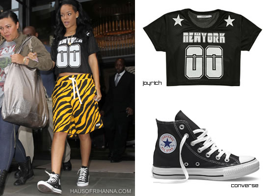 Rihanna in Joyrich N.Y athletic mesh shirt, Trukfit pants and Converse high tops