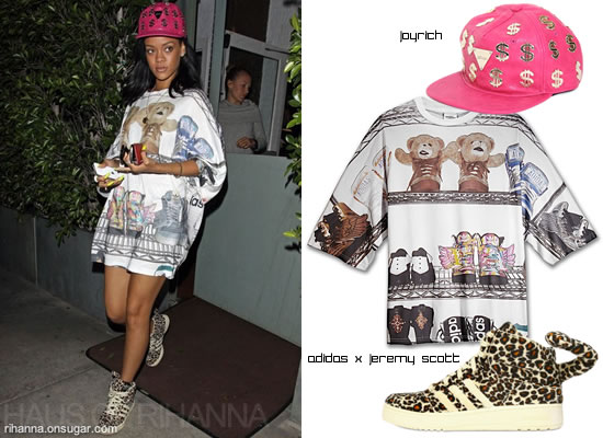 Rihanna in Joyrich hat and Adidas Originals by Jeremy Scott Shoe memory t-shirt and leopard shoe