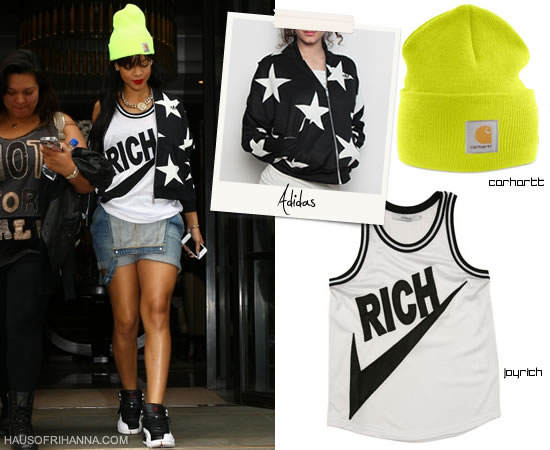Rihanna in Joyrich Rich Athletic Jersey Tank, Adidas CS Star Jacket, Carhartt Watch Hat, Melody Ehsani Queen of the Jungle necklace, and Nike Air Jordan Retro 12
