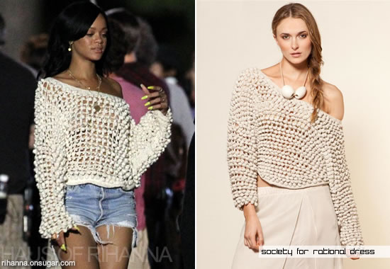 Rihanna in cotton ball sweater by Society for Rational Dress and Urban Renewal Distressed Grommet Shorts
