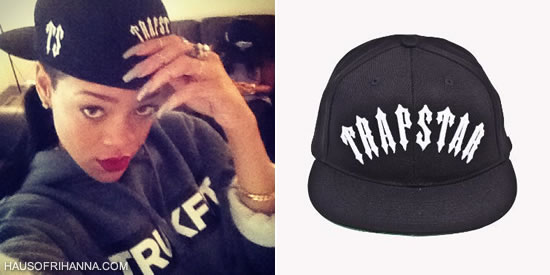 Rihanna in Trukfit hoodie and Trapstar Irongate snapback