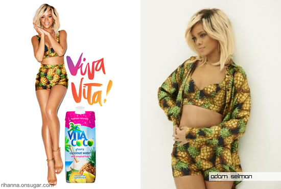 Rihanna in custom Adam Selman pineapple print outfit for Vita Coco ads
