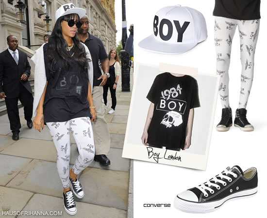 Rihanna wearing Boy London hat, shirt and leggings with black Converse sneakers