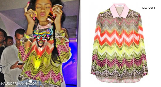 Rihanna in Carven printed silk shirt