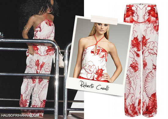Rihanna In Roberto Cavalli white and red shell print halter top and pants