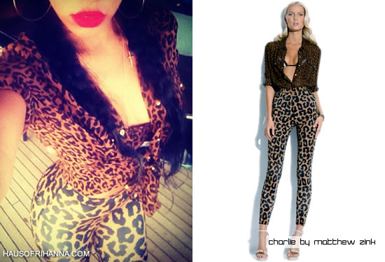 Rihanna in Charlie By Matthew Zink leopard print shirt and pant